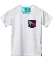 camiseta masculina algodão bolso estampa flor conforto - masculino