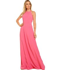 vestido estilo k longo helena rosa - rosa - feminino - dafiti