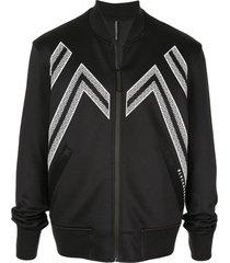 blackbarrett jaqueta bomber com estampa zig zag - preto