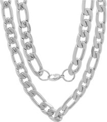 """steeltime men's stainless steel accented 10mm figaro chain link 24"""" necklaces"""