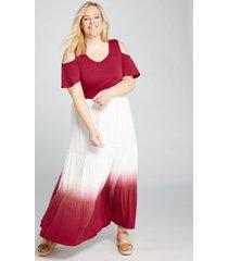 lane bryant women's dip-dye seamed skirt 22/24 pink ombre