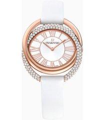 orologio duo, cinturino in pelle, bianco, pvd oro rosa