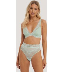 na-kd lingerie v-stringtrosa i spets med hög midja - green
