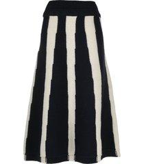 ami amalia chunky andean wool skirt - blue
