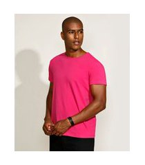 camiseta masculina básica com elastano manga curta gola careca rosa