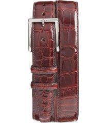 men's big & tall torino genuine american alligator leather belt, size 46 - dark cognac