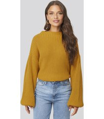na-kd balloon sleeve knitted sweater - yellow