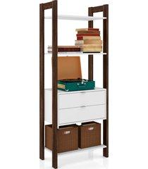 armário multiuso tecno mobili 3 prateleiras 2 gavetas branco e nogal