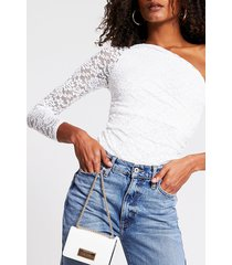 river island womens white lace one shoulder bodysuit