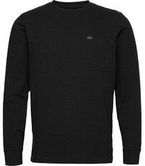 ls pocket tee t-shirts long-sleeved svart lee jeans