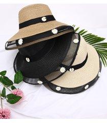 sombrero de paja de patchwork de malla daisy decor