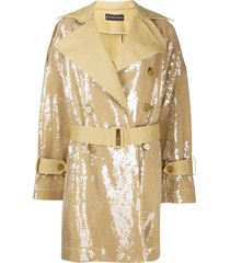 david koma sequined belted trench coat - neutrals