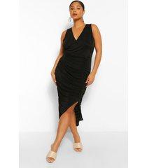 plus strakke midi wikkel jurk met textuur, zwart