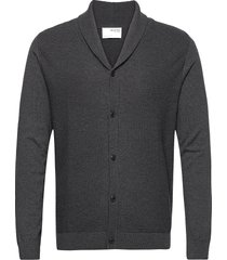 slhberg shawl cardigan b stickad tröja cardigan grå selected homme