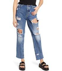 women's only roxy high waist straight leg jeans, size 30 - blue
