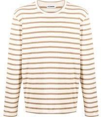jil sander horizontal-stripe t-shirt - neutrals