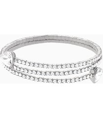 bracciale rigido twisty, bianco, placcatura rodio