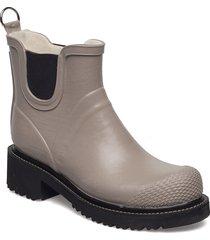 short rub high heel shoes boots rain boots ankle boots flat heel beige ilse jacobsen