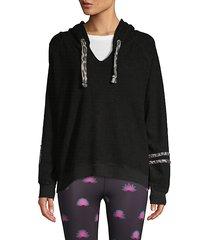raglan-sleeve cotton-blend hoodie