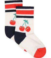 happy socks ivory socks for girl with cherry