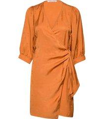celestina wrap dress 14025 kort klänning orange samsøe samsøe