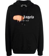 bel air sprayed hoodie black and orange