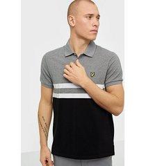 lyle & scott yoke stripe polo shirt skjortor grey