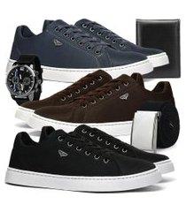 kit 3 pares de sapatênis skateboard sapatofran casual azul, preto e café com brindes