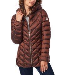 women's bernardo ecoplume(tm) hooded packable puffer jacket, size x-small - brown