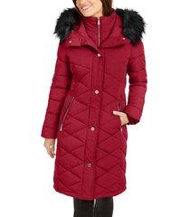 calvin klein diamond-quilt faux-fur trim hooded puffer coat