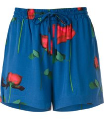 osklen printed wrap shorts - blue