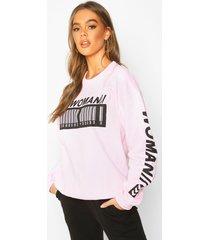 woman barcode oversized sweatshirt, blush