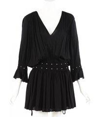 saint laurent black silk studded mini dress black sz: s