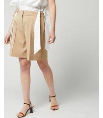 victoria, victoria beckham women's tailored shorts - camel - uk 10