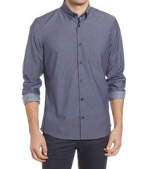 men's nordstrom trim fit non-iron stretch chambray button-up shirt, size 3xl - blue