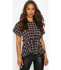 flannel peplum detail blouse, black
