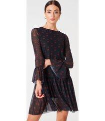 na-kd mesh round neck dress - black,multicolor