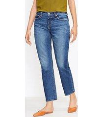loft curvy mid rise straight crop jeans in staple mid indigo wash