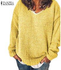 zanzea de mujer de manga larga sólido ocasional de los puentes suéteres de punto prendas de punto flojo de la blusa -amarillo