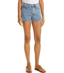 women's rag & bone maya high waist raw hem cutoff denim shorts, size 34 - blue