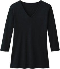 enna biokatoenen shirt met v-hals en 3/4 mouwen, zwart 44