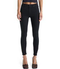 women's mother the looker frayed ankle skinny jeans, size 34 - black