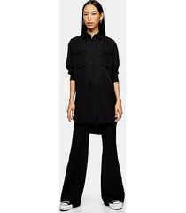 *black longline oversized shirt by topshop boutique - black