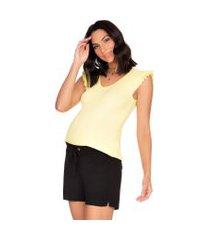 blusa megadose moda gestante regata amarelo