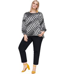 blouse rock your curves by angelina k wit::zwart