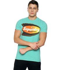 camiseta azul aguamarina superdry