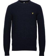 basket weave knitted jumper stickad tröja m. rund krage blå lyle & scott
