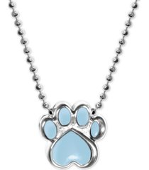 """alex woo blue enamel activist paw print 16"""" pendant necklace in sterling silver"""