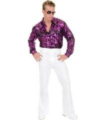 buyseasons men's flame hologram purple disco plus shirt