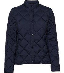 d1. light down quilted jacket doorgestikte jas blauw gant